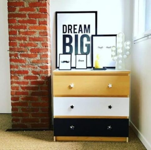 an IKEA Malm tricolor hack with star shaped knobs is a cool and bold idea for a modern space