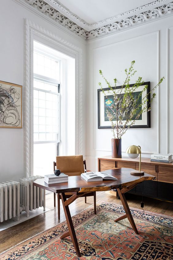 28 a small wooden desk with a live edge and catchy legs, a leather chair for a lovely nook by the window