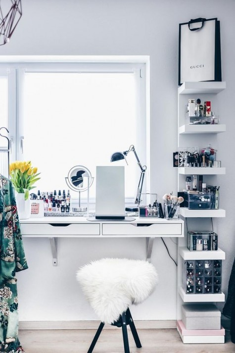 a lovely and simple windowsill beauty station with storage drawers, a stool and IKEA Lack shelves for additional storage