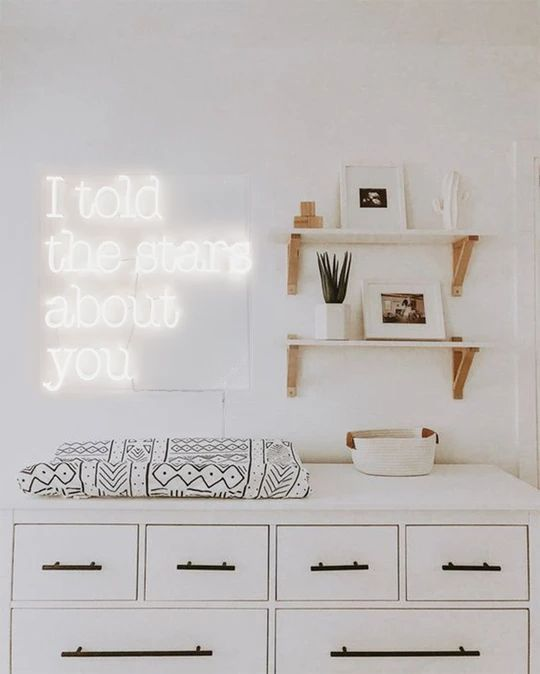 a lovely idea for a nursery - a cool neon sign  that makes sense and looks very cool and chic