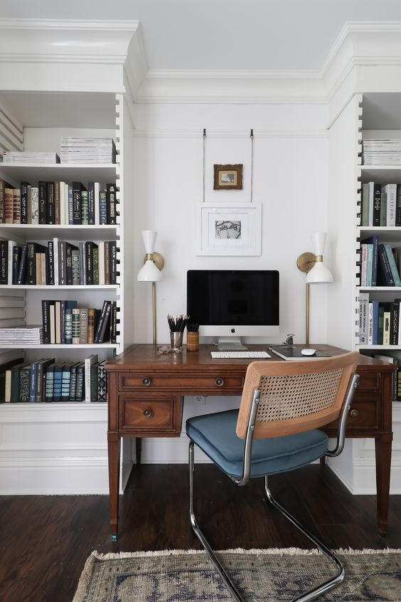 a cute small home office design with a vintage touch