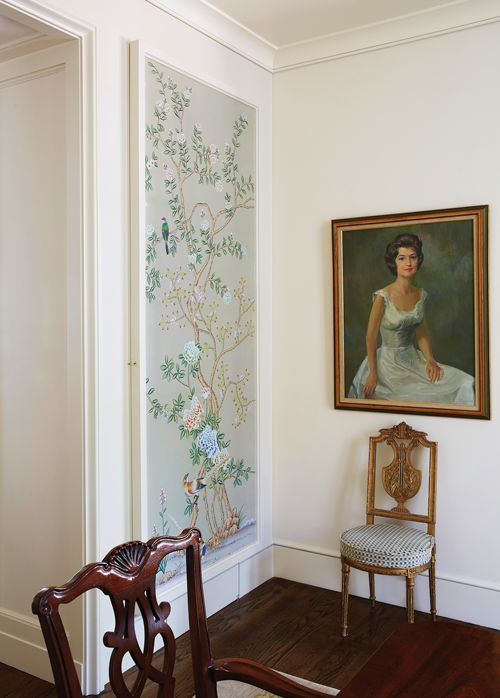 mix up real artworks and fframed wallpaper that looks cohesive with this art to get the best look