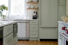 a beautiful sage green kitchen with a vinyl floor, open shelves and stainless steel appliances is very chic and light