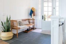 a minimalist boho entryway design