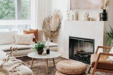 a bohemian summer living room design in earthy tones