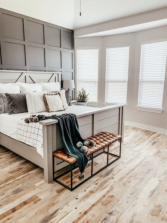 a cute farmhouse bedroom design with modern touches