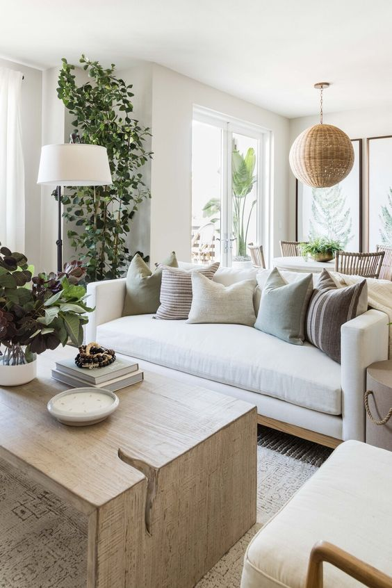 a fresh summer living room with neutral furniture, a woven pendant lamp, potted plants and printed pillows