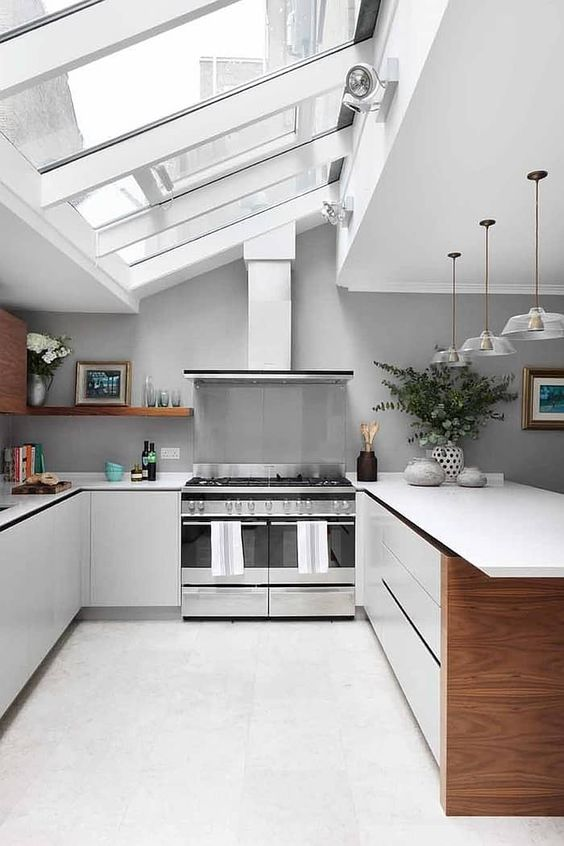 a cute neutral kitchen design with windows on a ceiling