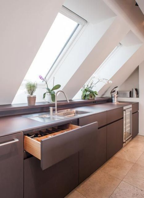 a minimalist attic kitchen with sleek grey cabinets, skylights, potted plants is a chic and stylish space