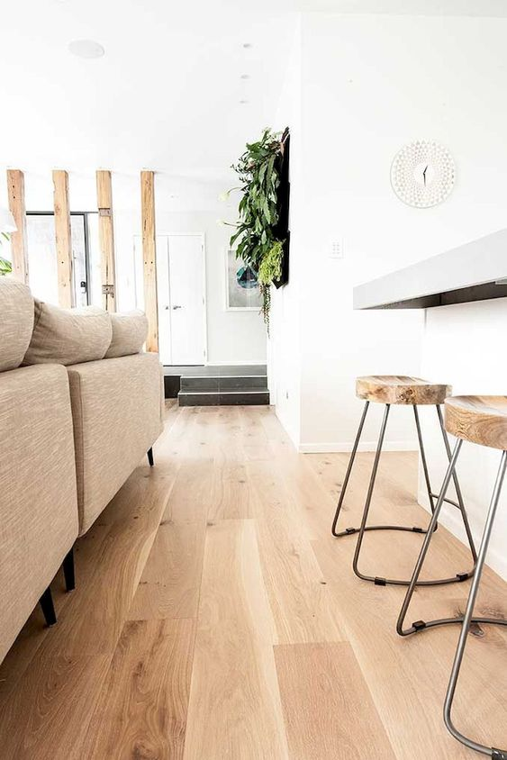 a modern space with white walls, light-colored laminate flooring, neutral furniture and wooden stools plus greenery