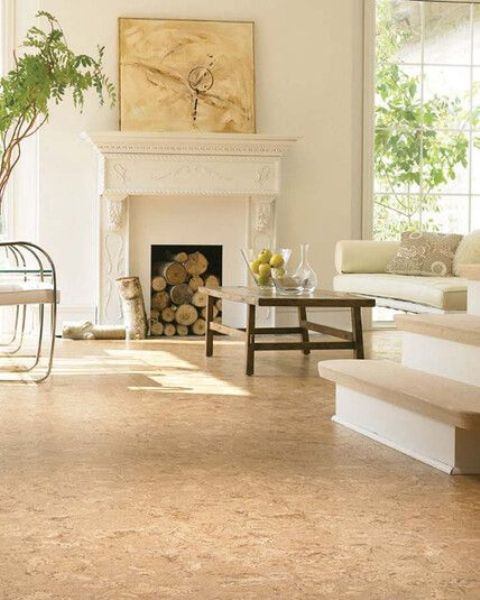 a neutral living room with neutral walls, a cork floor, a non-workign fireplace, neutral furniture, a low table and some potted greenery