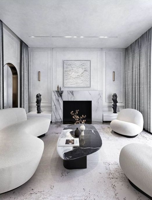 a refined contemporary living room with a fireplace clad with white marble, refined curved white furniture, a black marble coffee table and an artwork