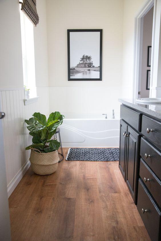 a simple small farmhouse bathroom design