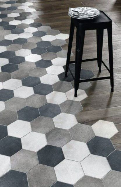 a mix of laminate and ceramic tiles always works great