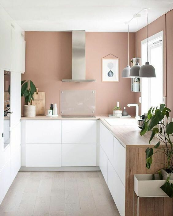 a chic minimalist kitchen with mauve walls, sleek white cabinetry, waterfall butcherblock countertops and potted plants
