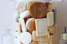 13 various types of scented soaps stored in your bathroom will give it a light scent, choose a summer one