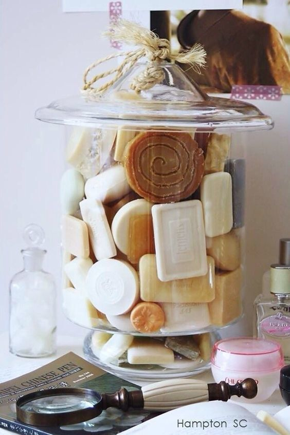 various types of scented soaps stored in your bathroom will give it a light scent, choose a summer one