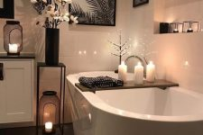 15 an elegant bathroom with candle lanterns – use scented candles to enjoy fresh summer aromas