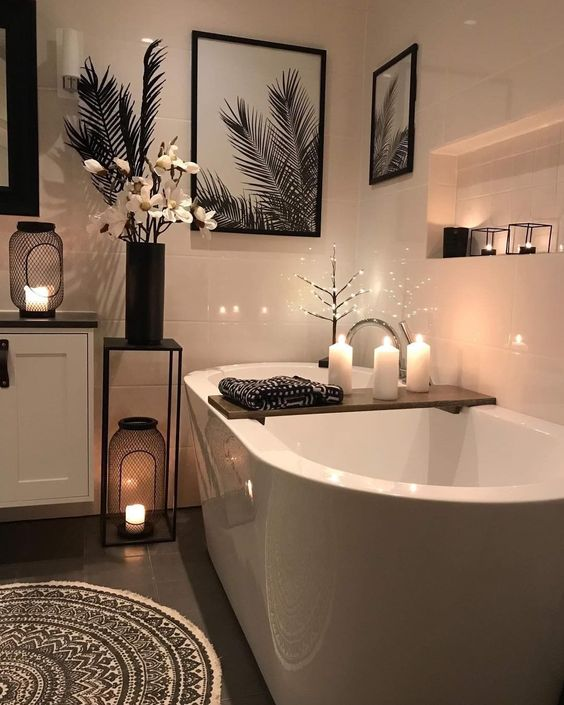 an elegant bathroom with candle lanterns   use scented candles to enjoy fresh summer aromas