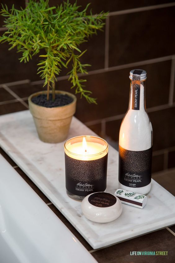 scented candles, scented bath salts and soaps will turn your bathroom into a luxurious summer spa retreat