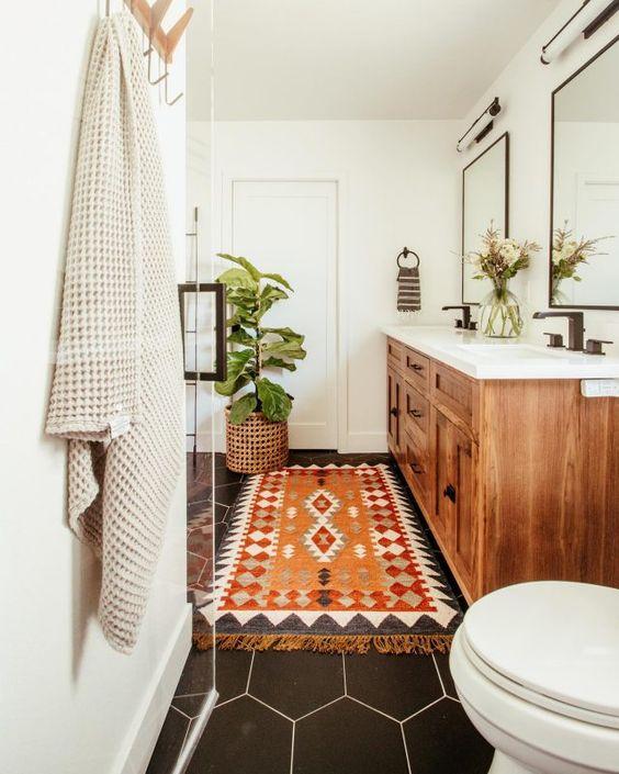 a cute small bohemian bathroom design