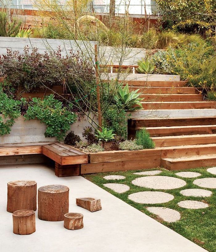 a small backyard done with a desk with steps that allow to get more of a tiny space, with lots of greenery and grass growing is cool