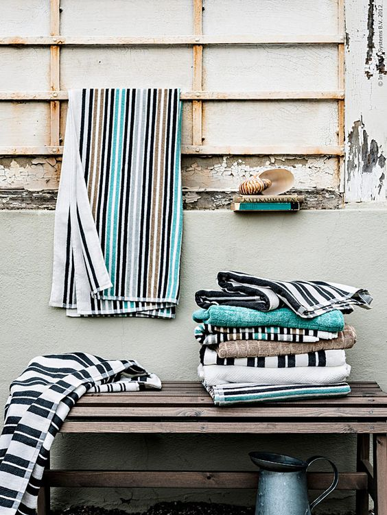 bright and fun coastal towels will bring a slight coastal or beachy feel to your space