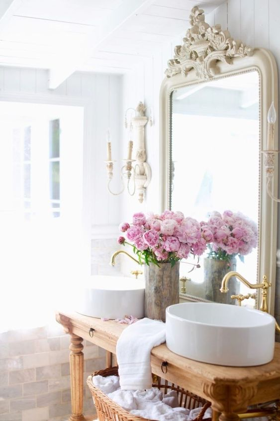 a lovely fresh peony arrangement will fill your bathroom with summer scents and will bring a strong summer feel