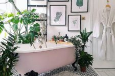 27 an organic gallery wall with various leaves and plants will instantly bring a strong summer feel to the bathroom