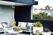 a cute black and white terrace design