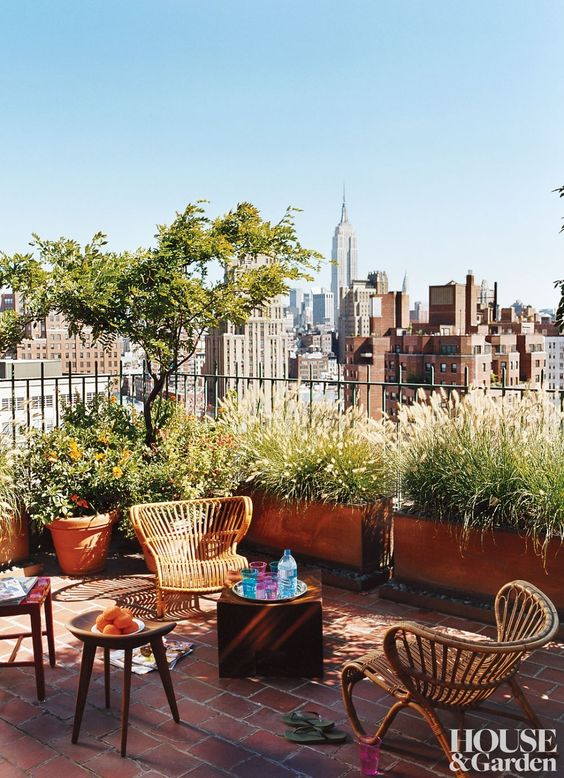 a cool rooftop terrace with potted trees and greenery, rattan chairs and wooden stools is a lovely space to relax here
