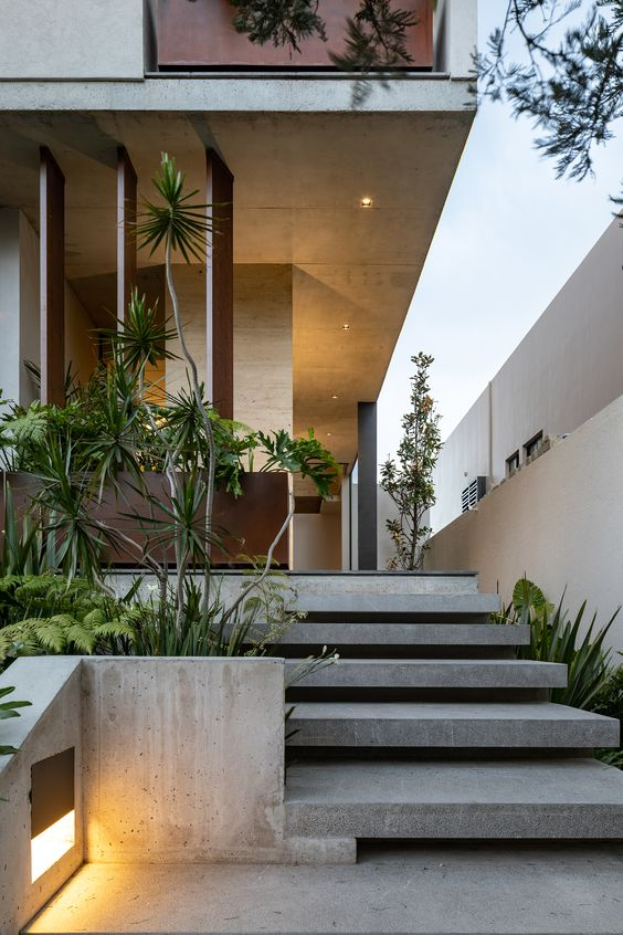 a modern front yard done with concrete for a sleek feel, with greenery and trees that refresh the sleek and minimal look of the yard