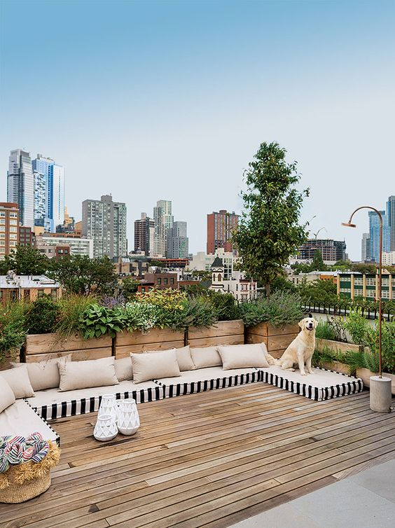 a modern rooftop terrace with potted plants that compose a living wall, a wooden deck and some cushions and pillows right on the deck