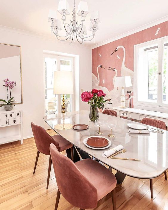 a dining room with a cool wallpaper