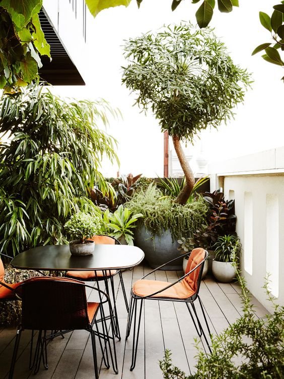 a small deck with a black dining table and lovely chairs with bright cushions, potted plants and trees to feel like in a garden