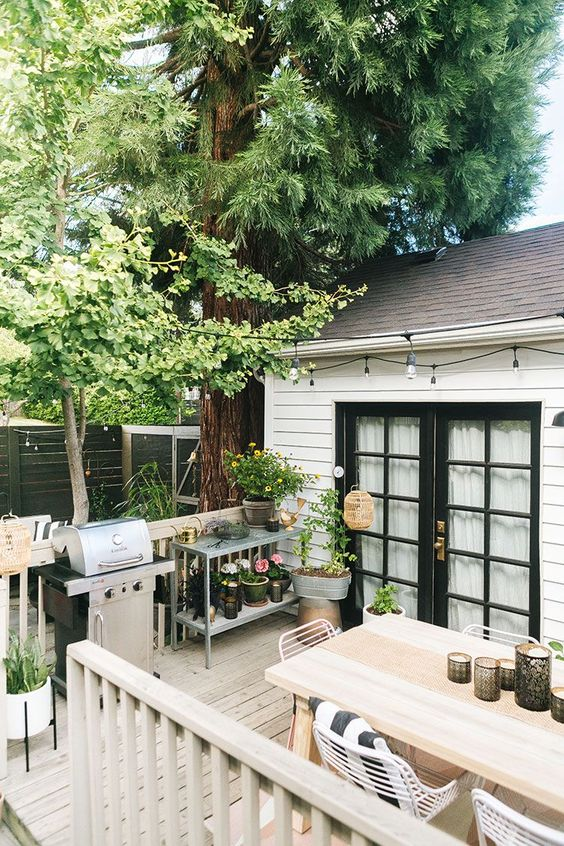 a cool deck with a grill