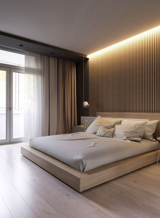 a sophisticated minimalist bedroom with a wooden slab wall, a glazed one, a stained wooden bed, neutral textiles and built-in lights