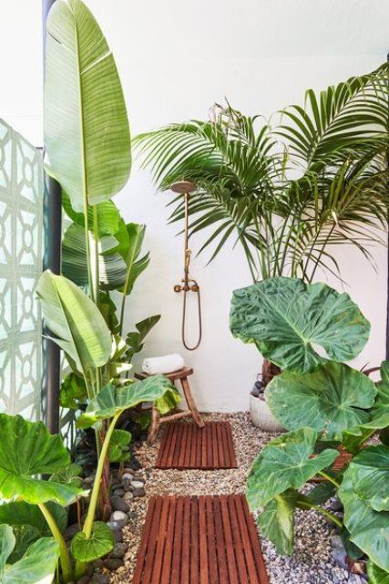 an outdoor tropical shower with pebbles, wooden bath mats, lots of tropical plants and a lovely brass shower is cool