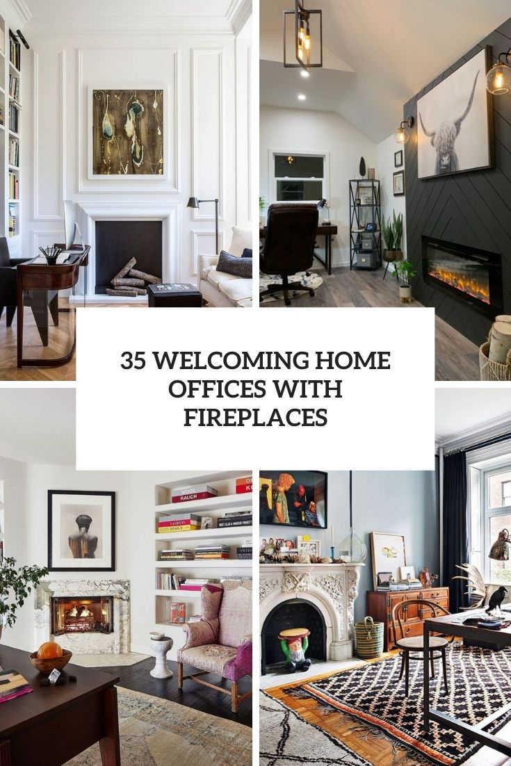 35 Welcoming Home Offices With Fireplaces