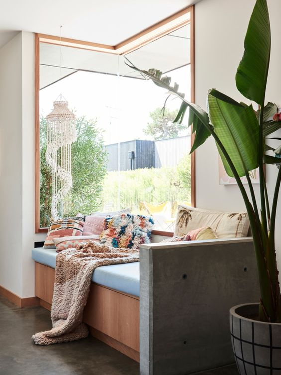 a cozy nook with a corner window and a built in daybed with pillows and a blanket, a statement potted plant is a lovely space