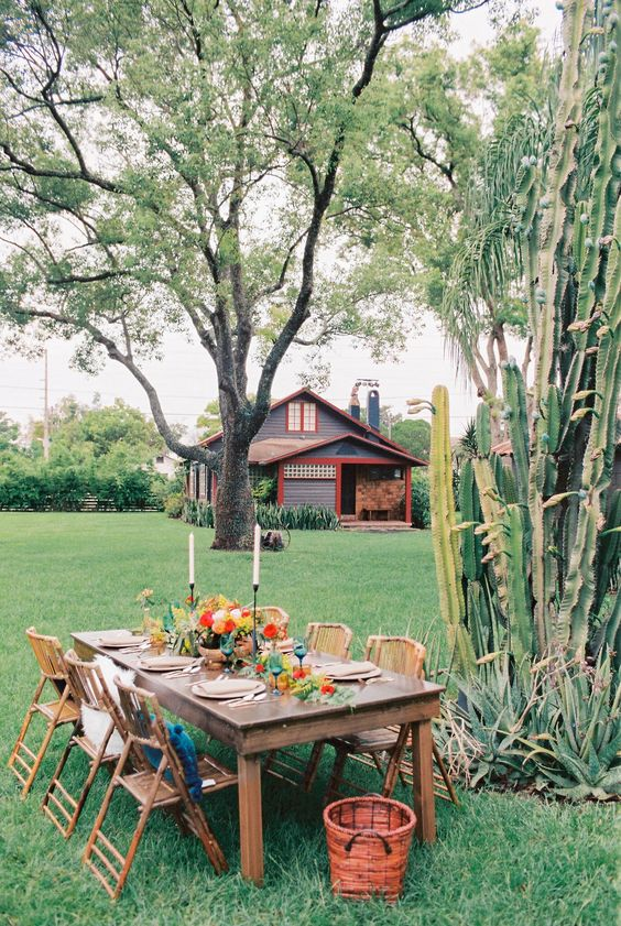 a garden dining space with a stained table and folding bamboo chairs, bright blooms and a large cactus growing right here