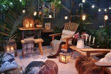 a super cozy boho outdoor space