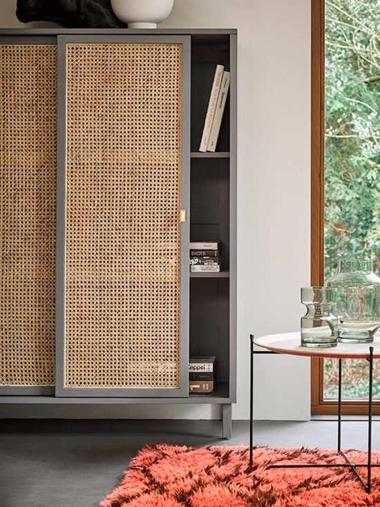 a grey bookcase with sliding cane doors is a very fresh and innovative solution that looks modern and bold thanks to the color combo