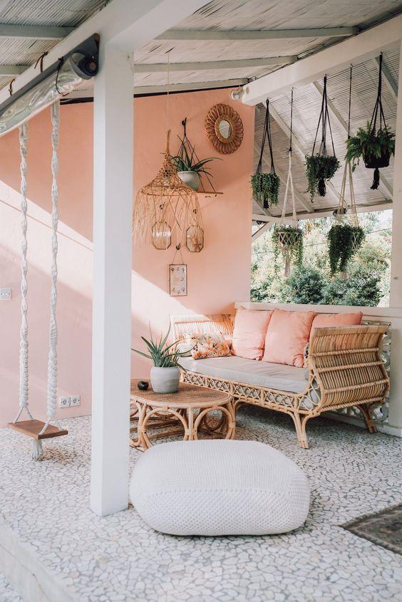 a cute boho inspired patio design
