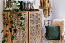 a lovely cane sideboard is a perfect solution for a modern or boho room, it looks great with a rattan chair and a pendant lamp