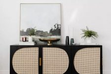 a cool ikea dresser hack with cane doors for a living room