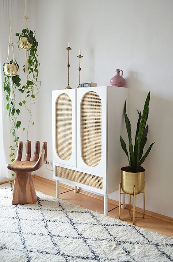 a cute ikea hack with cane doors