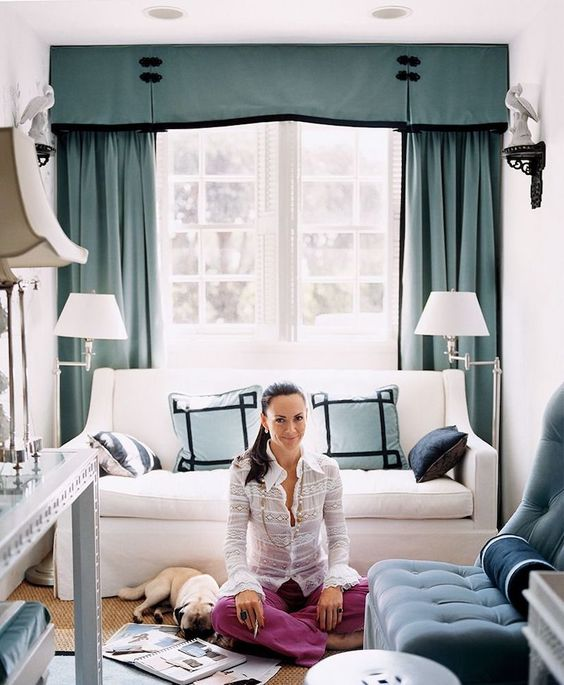 a lovely white French window with turquouse curtains is a chic idea for a refined interior and it looks amazing