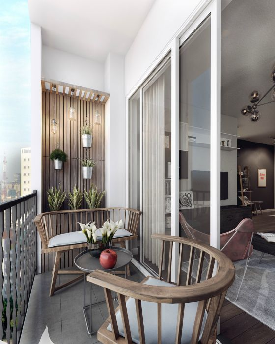 a modern balcony with a wooden accent wall with potted plants, a wooden bench and a chair plus a round table is a cool and laconic space