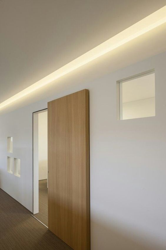 a modern light-stained sliding door is a very stylish and sleek idea for a contemporary or minimalist space